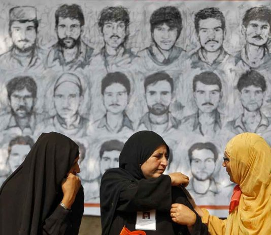 Relatives of missing persons in protest