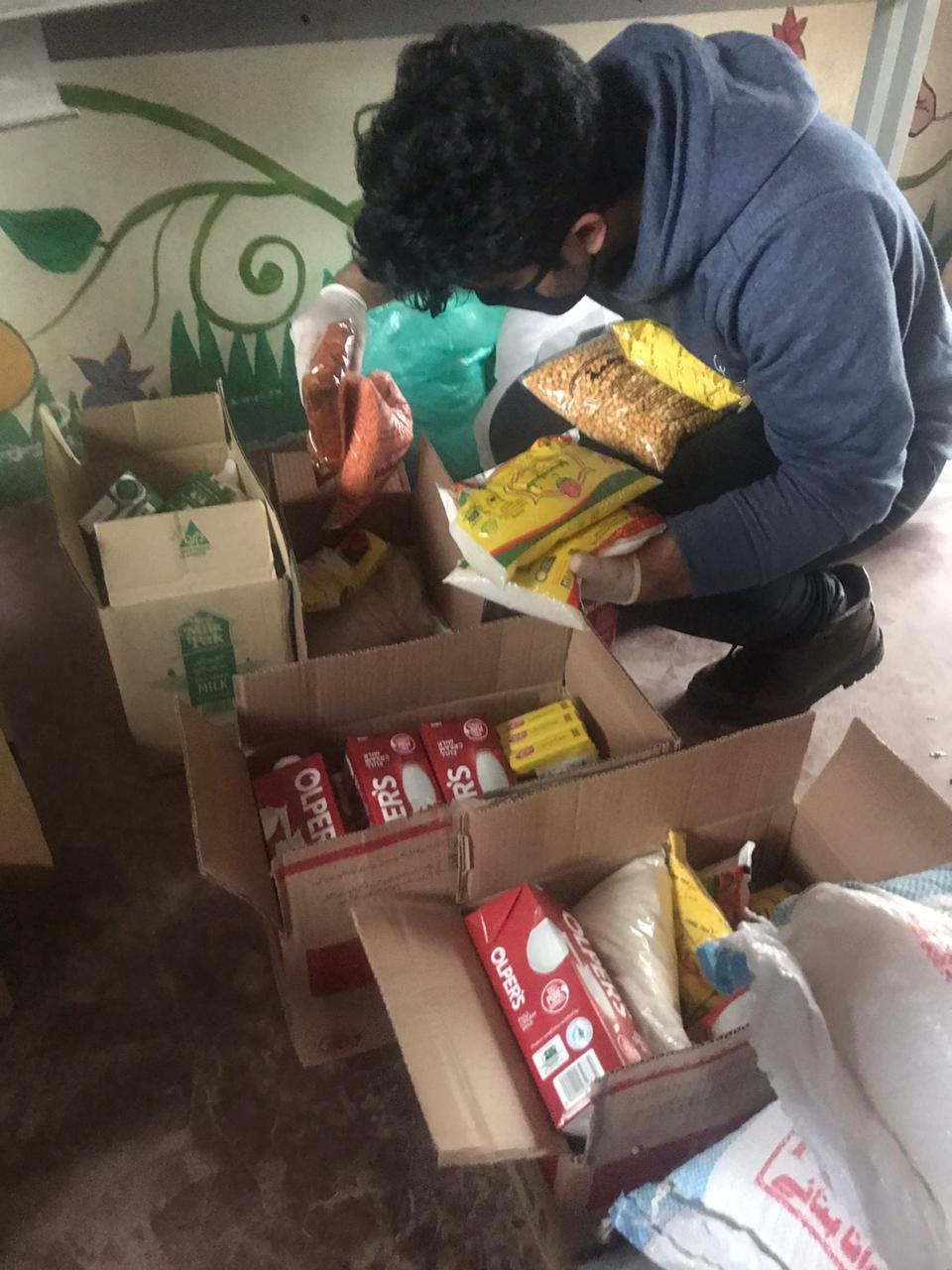 Ration packages being prepared by EHM volunteers